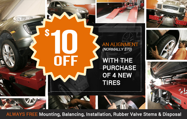 $10 Off Alignment with Purchase of 4 New Tires